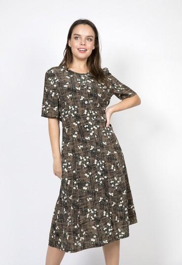 Vestido vintage marrón-negro con flores