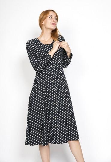 Vestido vintage negro con puntos blancos