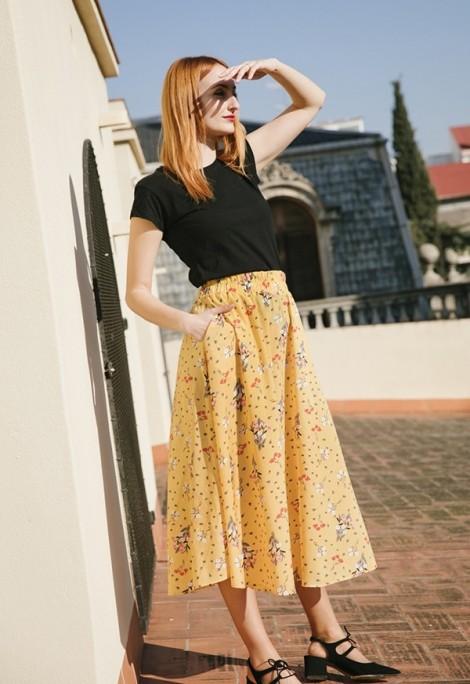 Falda maxi larga amarilla flores