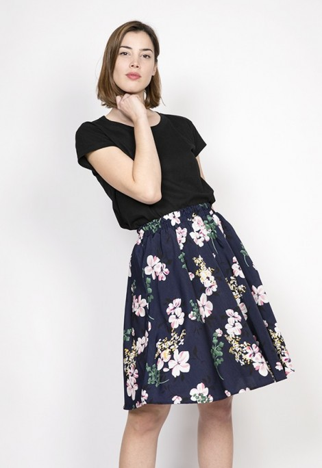 Falda midi azul marino flores