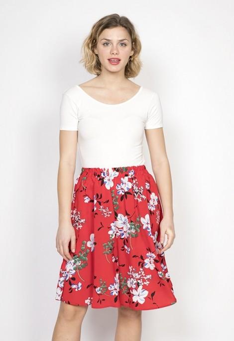 Falda midi roja flores