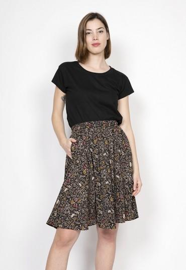 Falda midi negra con flores ocre