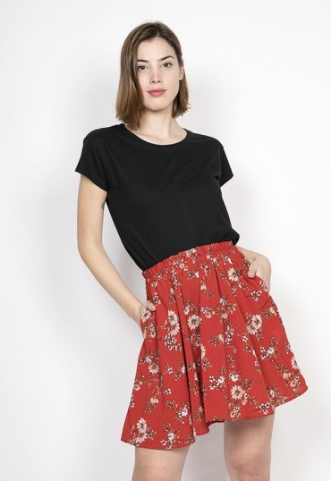 Falda mini roja flores