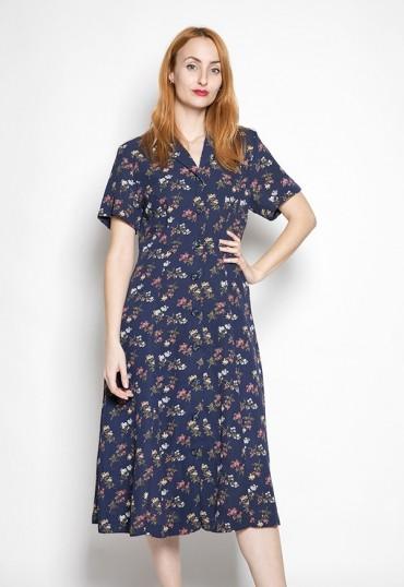Vestido vintage azul marino con florecitas
