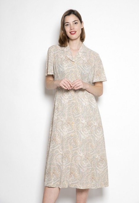Vestido vintage con estampado beige