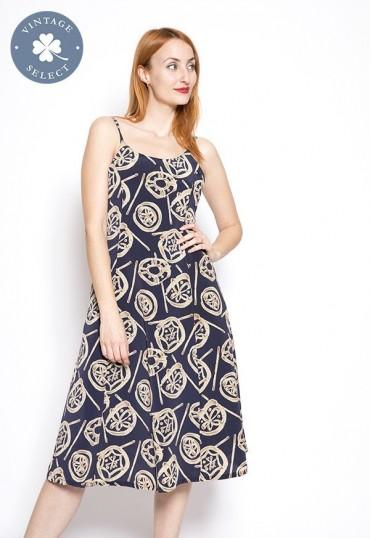 Vestido vintage Select azul marino con estmpado beige