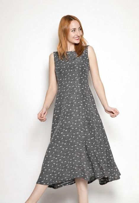 Vestido vintage gris con flores blancas