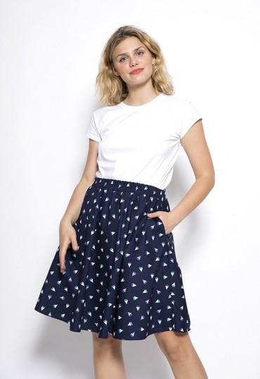 Falda midi azul marino con...