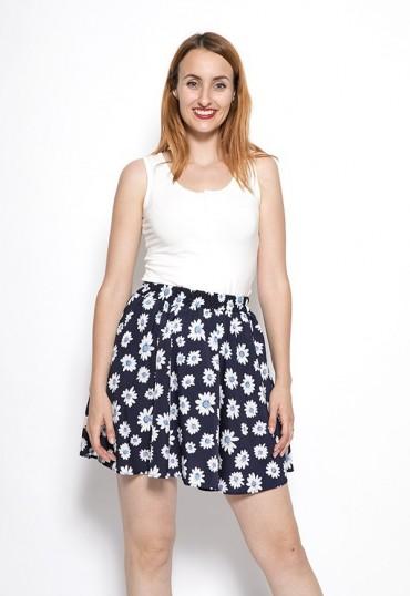 Falda mini azul marino flores blancas