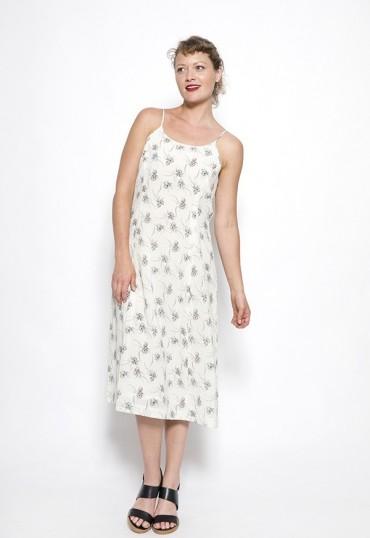 Vestido vintage blanco con flores grises