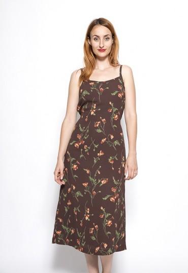 Vestido vintage marrón con flores rojas y verdes