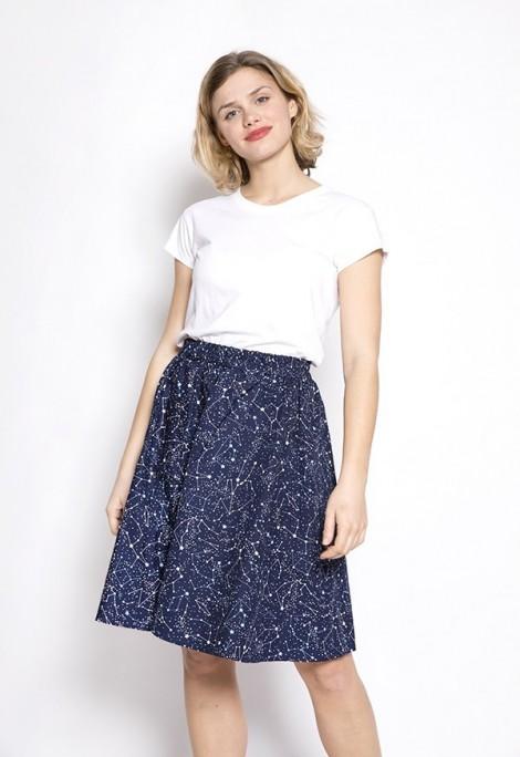 Falda midi azul marino constelaciones