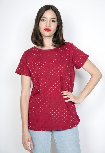 Camiseta SusiSweetdress roja con puntos blancos