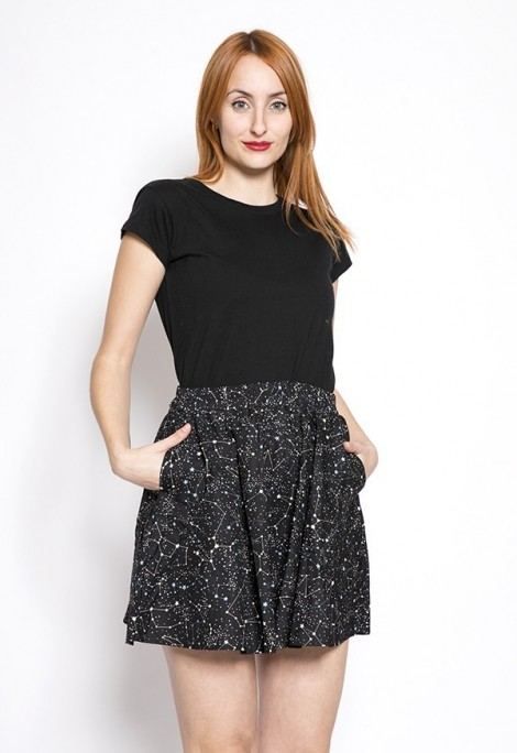 Falda mini negro constelaciones