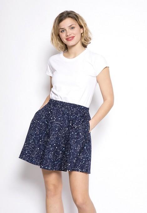 Falda mini azul marino constelaciones