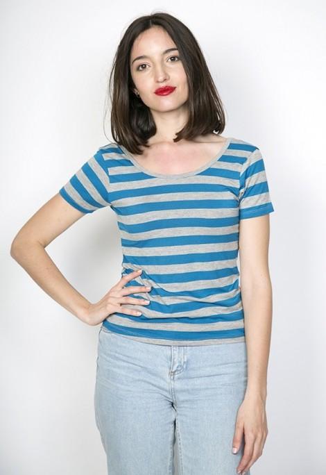 Camiseta básica SusiSweetdress gris con rayas azules