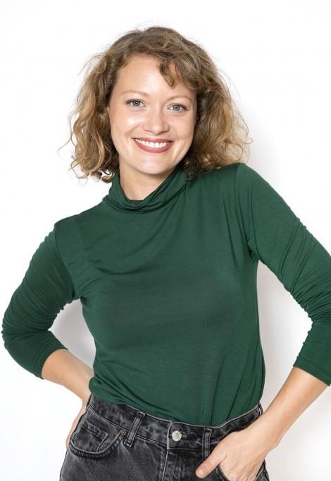 Camiseta básica SusiSweetdress verde bosque cuello alto