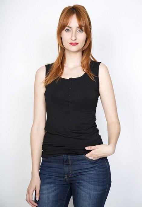 Camiseta básica SusiSweetdress negra con tirantes y botones