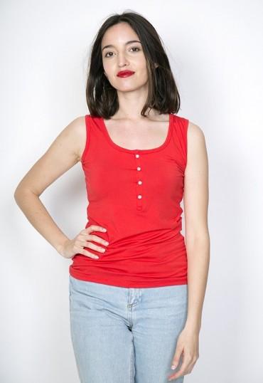 Camiseta básica SusiSweetdress roja con tirantes y botones
