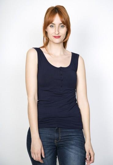 Camiseta básica SusiSweetdress azul marino con tirantes y botones