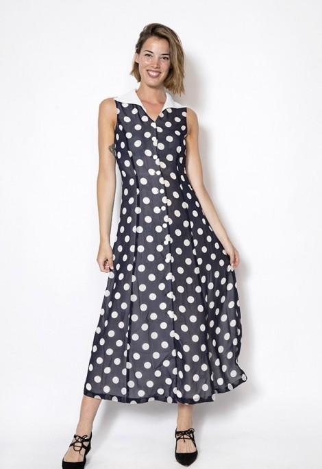 Vestido vintage Select negro con topos blancos