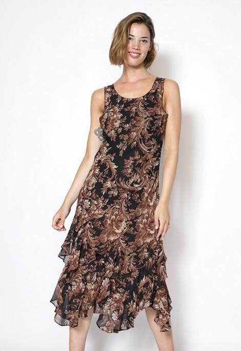Vestido vintage Select negro con estampado marrón